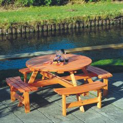 Round Timber Picnic Table