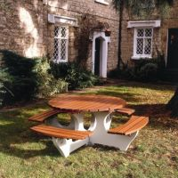 Round Concrete/Timber Picnic Table