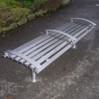 Stainless Steel Slatted Bench